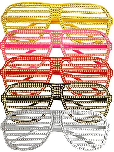 Gitterbrille/ Atzenbrille in silber | Größe: 15 x 5,5cm | Karnevals-Party-Brille (Lady Brille Gaga)