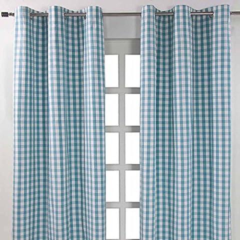 Homescapes Ösenvorhang blickdicht Karo blau weiß Dekoschal 2er Set Breite 137 x Länge 182 cm Vorhang Paar 100%