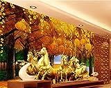 Wolipos 3D Wandmalerei Wand-Aufkleber Tapete Wandtattoo Benutzerdefinierte Acht Pferd Gold Vermögen Baum Sofa Tv Ation Malerei Hd Dekoration 300Cmx250Cm