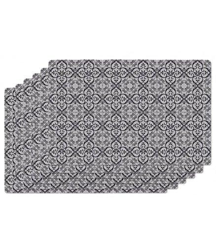 Set de Table Design Carreaux de Ciment en Vinyle Noir - Set de 6