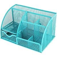 Cailorlife Organizador de escritorio de metal, soporte para bolígrafo, oficina suministro metal caja de almacenamiento cesta (5 Compartimentos, azul)