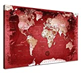 """LANA KK - Weltkarte Leinwandbild mit Korkrückwand zum pinnen der Reiseziele – """"Weltkarte Red"""" - deutsch - Kunstdruck-Pinnwand Globus in rot, einteilig & fertig gerahmt in 100x70cm"""