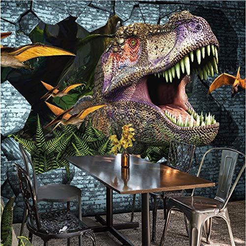Guyuell 3D Wallpaper Retro Landschaft 3D Geprägte Dinosaurier Tapete Wandbild Tapete Cafe RestaurantWandverkleidung Fresken-400Cmx280Cm