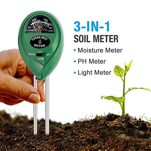 MoonCity 3-in-1-Messgerät für den Boden, Feuchtigkeit, leichte Erde / dunkler Boden, pH-Wert, Testgerät für Pflanzerde, ideal für Garten, Bauernhof, Rasen, drinnen & draußen (keine Batterie erforderlich)