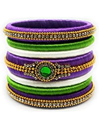 SAI Handmade Silk Thread Bangle Set For Women, Violet Green And White Color With Stone (Size - 2.8)