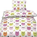Aminata - moderne Teenager-Bettwäsche 135x200 Baumwolle Eule Eulen-Bettwäsche Mädchen mit Eulen-Motiv Mädchen-Bettwäsche Reißverschluss