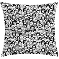 Black and White Throw Pillow Cushion Cover, an Assortment of Portraits of Happy People Many