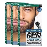 Just For Men - Tinte de barba y bigote para hombre, color negro marrón (M45), 1/ paquete