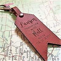 Personalised Leather Luggage Travel Tag Keyring