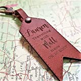 Personalised Leather Luggage Travel Tag Keyrin