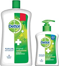 Dettol Liquid Hand Wash Jar Original 900 ml with Free Dettol Handwash 200 ml (Any Variant)