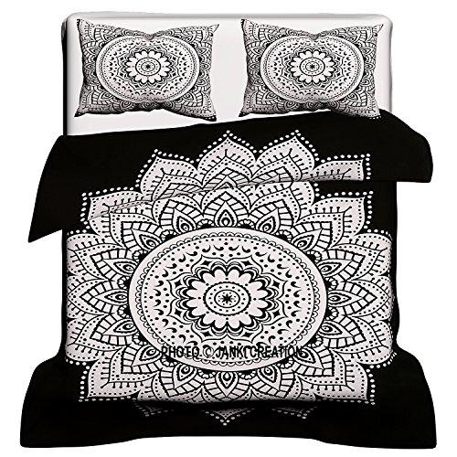 Exklusive schwarz & weiß Mandala Bettbezug mit zwei Kissen, Mandala Betten, Mandala Schlafzimmer Decor, Boho Tröster, Mandala Bettdecken, indischen cootton Überwurf Doona Bezug Decke Set 80x 82 -
