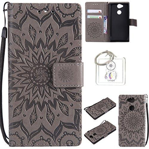 für Sony Xperia XA2 Hülle,Geprägte Muster Handy hülle / Tasche / Cover / Case für das Sony Xperia XA2 PU Leder Flip Cover Leder Hülle Kunstleder Folio Schutzhülle Wallet Tasche Etui Standfunktion Kredit Kartenfächer+Schlüsselanhänger (T) (2) (Bekleidung Geprägte)