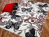 Teppich Trendline Butterfly Schwarz Rot Grau in 4 Größen REDUZIERT