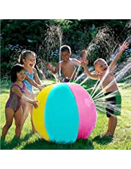 Flower205 Inflatable Water Spray Beach Ball PVCfor Outdoor Lawn Summer Game Children's Toy Ball Water Jet Ball PVC Material 75CM