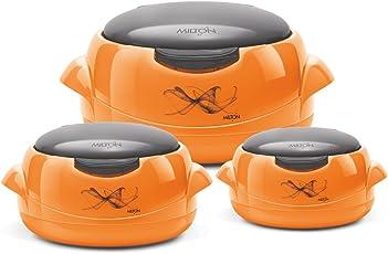 Milton Microwow One Touch Casserole Jr Set, 500 Ml, 3-Pieces, Orange