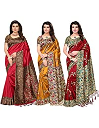 Ishin Women's Poly Silk Printed Saree (Combosr-19050, Multicolour, Free Size) - Combo Of 3