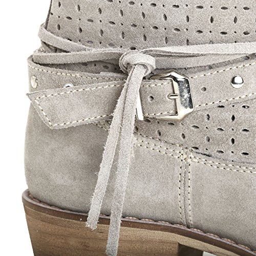 Alesya Di Scarpe & Scarpe - Stivaletti Con Tacco, Incisioni Laser E Cinturini Tortora