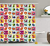 MSGDF Nursery Shower Curtain, Big Colorful Set with Lovely Animals Birds and Flowers Artistic Ornamental Details, Fabric Bathroom Decor Set with Hooks, 60 X 72inch, Multicolor