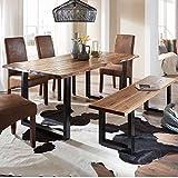 Pharao24 Esszimmer Sitzgruppe mit Baumkantentisch und Bank Loft Design (2-teilig) Breite 160 cm 3 Sitzplätze