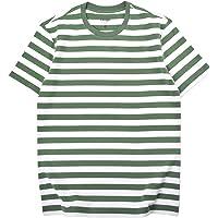 Mens Striped T-Shirt Basic Short Sleeve Cotton Spandex Crew Neck T Shirt Men