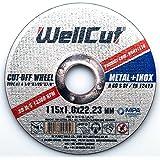 WELLCUT Lot de 10 Disque à tronçonner pour acier 115 x 1 mm. De haute qualité de qualité professionnelle - Pour séparation ou meuleuse d'angle