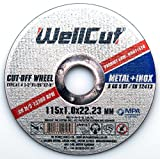 WELLCUT Premium Quality 10-Pcs Pack Set Of 115 x 1 x 22.2 mm Super Thin Cutting Discs - Ideal For Stainless Steel, Steel & Non-Ferrous Metals - Universal For Variety Of Angle Grinders