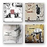 Banksy Bilder Set C, 4-teiliges Bilder-Set jedes Teil 19x19cm, Seidenmatte Optik auf Forex, moderne schwebende Optik, UV-stabil, wasserfest, Kunstdruck für Büro, Wohnzimmer, XXL Deko Bild