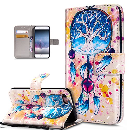 ikasus Coque iPhone 8/7 Etui Modèle de papillon peint en 3D coloré Housse Cuir PU Housse Etui Coque Portefeuille supporter Flip Case Etui Housse Coque pour iPhone 8/7,Campanule plume colorée