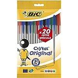 BIC Cristal Original Stylos-Bille Pointe Moyenne (1,0 mm) - Couleurs Assorties, Pochette Format Spécial de 20