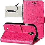 Hülle für Samsung Galaxy S4 Leder Hülle Elefant, SchutzHülle Wallet Flip für Samsung Galaxy S4, Case Glitter SchutzHülle Flip Wallet Case Hülle Magnet Leder Hülle Schutz Hüllen für - Hot Pink