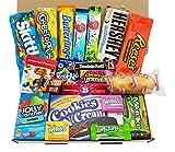 Amerikanische Süßigkeiten Geschenkkorb von Heavenly Sweets | Süßigkeiten aus den USA | Auswahl beinhaltet Jolly Rancher, Hersheys, Reeses, Jelly Belly, Skittles | 20 Produkte in einer tollen retro Geschenkebox