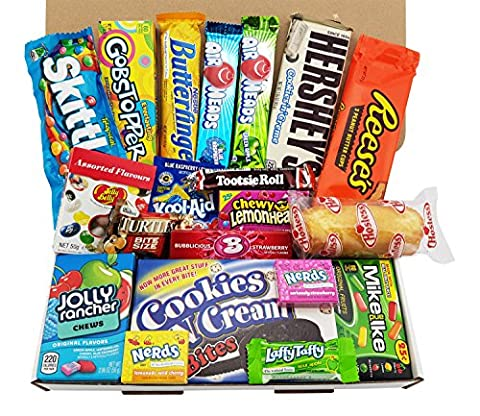 Grand boîte de bonbons américains   Sélection de confiseries chocolats authentiques   Assortiment inclut Chupa Chups Hersheys Reeses Jelly Belly Skittles   Boîte de 20 pièces