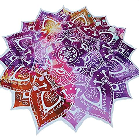 Reaso Serviette de plage, Forme de Fleurs Mandala Tapis en Polyester Nappes Bohême Tapisserie Yoga Mat (150x150CM/59