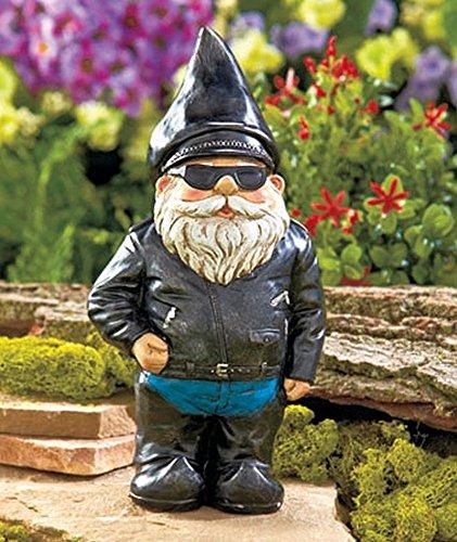 Motorradfahrer Gartenzwerg Statue - Outdoor Garten Figur in Motorrad-Lederjacke - Exzellentes Gartenornament / Rasenkunst - Lustige Rasenstatue - Perfekte Geschenkidee - 22cm groß