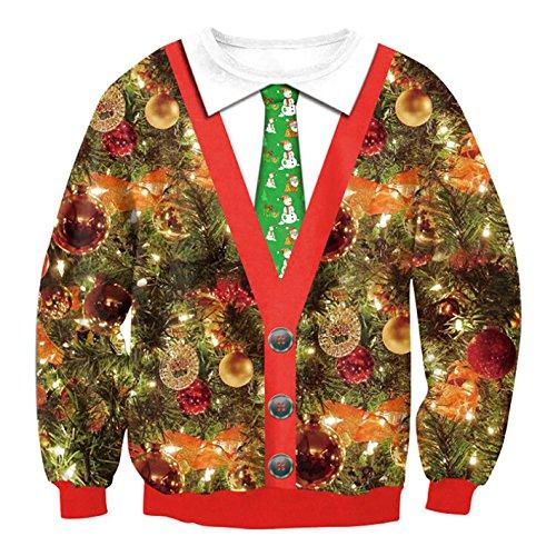 Carolilly Unisex Weihnachtspullover Sweatshirt Ugly Christmas Sweaters Xmas Schneeflocken Pulli Sweater