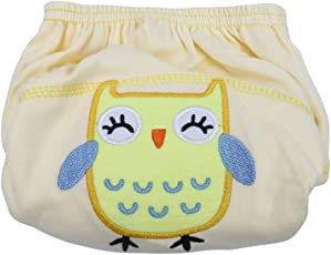 Chinatera Baby Boy's Breathable Training Pants Washable Reuseable Cotton Diapers Learning Pants Ages (Yellow Owl, 90: 12-14 KG)