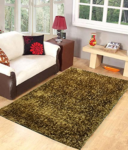Homefab India Designer Gold Fur Floor Carpet(90X150 cms)