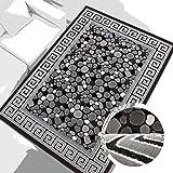 carpet city Teppich Modern Desinger 3D Handcarved Glanzfaser Acryl Glitzer Pralines Mosaik Grau Schwarz Creme 200x290 cm