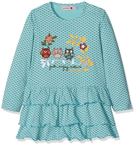 Bóboli 214063, Vestido para Bebés, Multicolor (Estampado Flor Topo Niebla), 98 (Tamaño del Fabricante:98cm)
