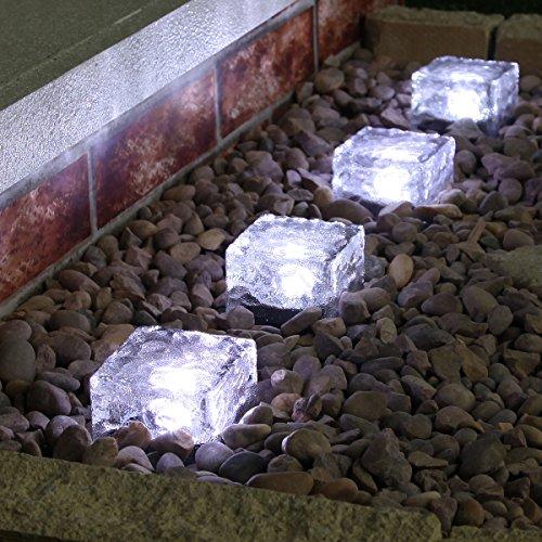Funciona con energía solar 4unidades al aire libre cristal ladrillo