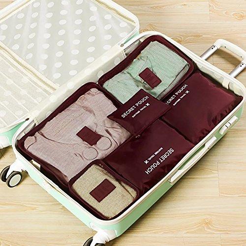 Wasserdicht Multifunktions-6Reise tragbar Fall Gepäck Organizer Kleidung Storage Verpackung Pouch Set weinrot
