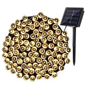 Qedertek Stringa Luci Solare di 22M con 200 LED(Bianca Calda) con 8 Modalità di Illuminazione Esterni per Decorazionea la Giardino Cortile Terrazza Catena Luminosa per Festa di Natale Capodanno Matrimonio.