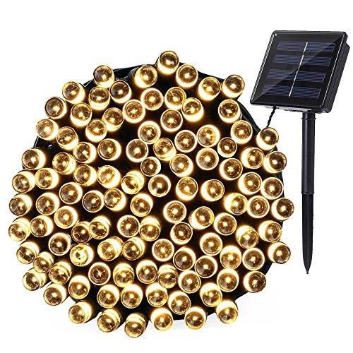 Qedertek Solar Lichterkette, 22m, 200er LED, 8 Modi, Wasserdichte Außenbeleuchtung mit Lichtsensor, Dekoration für Party, Haus, Hochzeit, Garten, Weihnachten, Feier, Fest (Warmweiß)