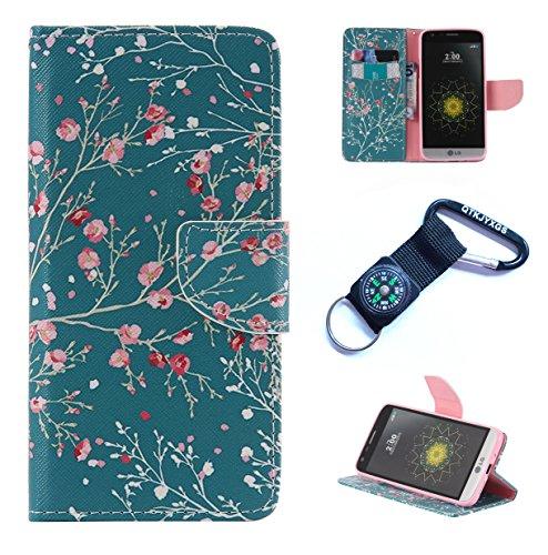 für LG G5 Hülle Blume Premium PU Leder Schutzhülle für LG G5 (5,3 Zoll Bookstyle Tasche Schale PU Case mit Standfunktion(+Outdoor Kompass Schlüsselanhänge) SX (7)