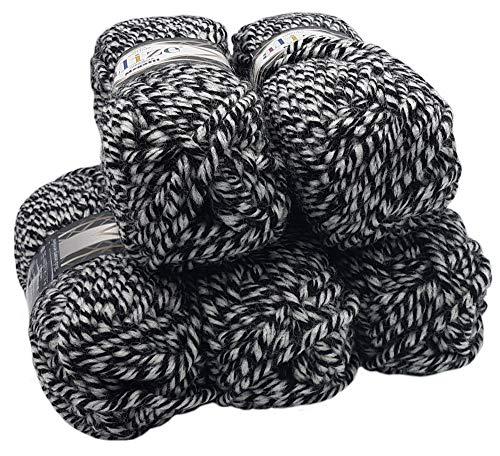 Alize Megafil Super Dicke Wolle Stricken und Häkeln 500 g. Paket (5 x 100g Schwarz- Grau- Weiß (601)) -
