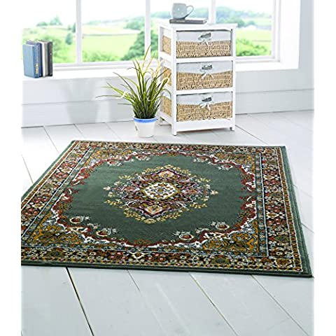 Extra grande medaglione qualità tradizionale design morbido tappeto orientale Tappetini, Verde, 160x 220cm (5'x8')