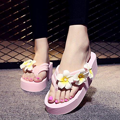 ZYUSHIZ Frau T-Hausschuhe Home Die Philippinen mit kühlen Hausschuhe rutschfeste Füße dick Clip Strand Rosa