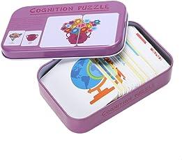 Rrimin Babys Kids Child Iron Box Cards Matching Game Preschool Educational Toy (Purple)