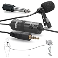 BOYA by-m1Microphone à condensateur omnidirectionnel Microphone Cravate avec Clip de Revers pour Appareil Photo Reflex numérique/Smartphone/Caméscopes/enregistreur Audio–Noir